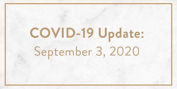 COVID Update September 3, 2020